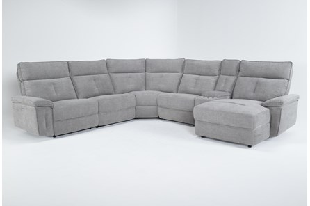 Pippa Grey 6 Piece Power Reclining Sectional With Right Arm Facing Chaise & Power Headrest - Main