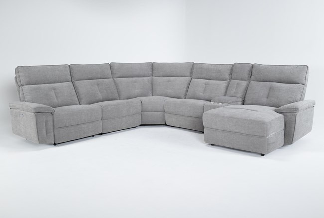 """Pippa Grey 6 Piece 122"""" Power Reclining Sectional With Right Arm Facing Chaise & Power Headrest - 360"""