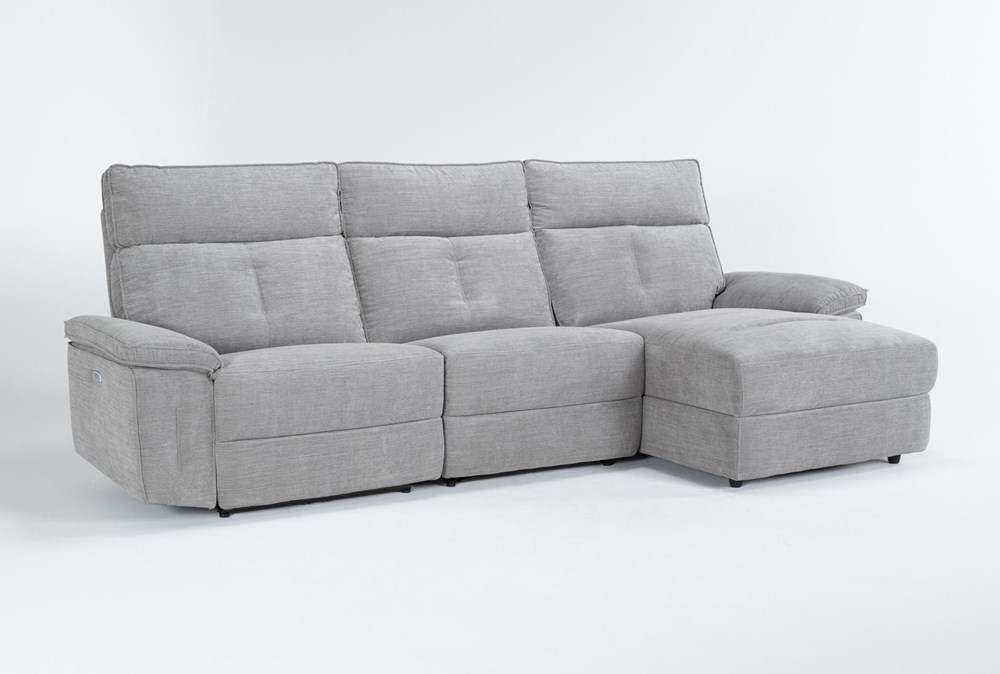 "Pippa Grey 3 Piece 111"" Sectional With Right Arm Facing Chaise & Power Headrest"