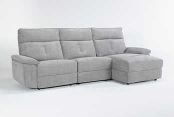 """Pippa Grey 3 Piece 111"""" Sectional With Right Arm Facing Chaise & Power Headrest"""