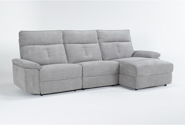 "Pippa Grey 3 Piece 111"" Sectional With Right Arm Facing Chaise & Power Headrest - 360"