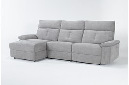 "Pippa Grey 3 Piece 111"" Sectional With Left Arm Facing Chaise & Power Headrest"