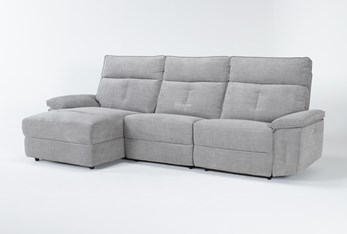 """Pippa Grey 3 Piece 111"""" Sectional With Left Arm Facing Chaise & Power Headrest"""