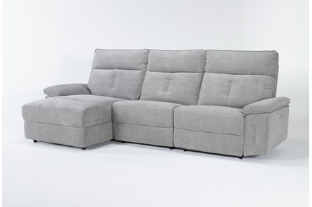 Pippa Grey 3 Piece Sectional With Left Arm Facing Chaise & Power Headrest - Main
