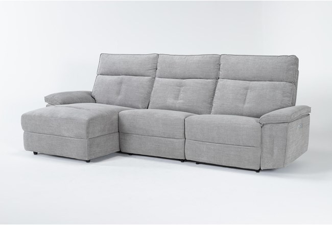 """Pippa Grey 3 Piece 111"""" Sectional With Left Arm Facing Chaise & Power Headrest - 360"""