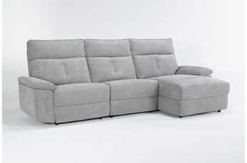 Pippa Grey 3 Piece Sectional With Armless Recliner, Right Arm Facing Chaise & Power Headrest