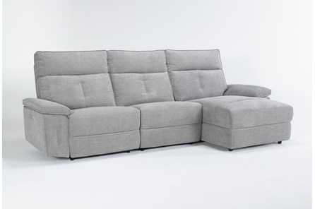 Pippa Grey 3 Piece Sectional With Armless Recliner, Right Arm Facing Chaise & Power Headrest - Main