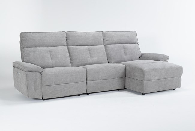 """Pippa Grey 3 Piece 111"""" Sectional With Armless Recliner, Right Arm Facing Chaise & Power Headrest - 360"""