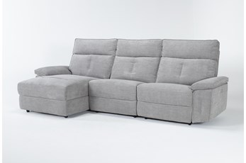 Pippa Grey 3 Piece Sectional With Armless Recliner, Left Arm Facing Chaise & Power Headrest