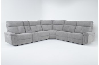 "Pippa Grey 6 Piece 214"" Power Reclining Sectional With Power Headrest"