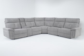"""Pippa Grey 6 Piece 214"""" Power Reclining Sectional With Power Headrest"""
