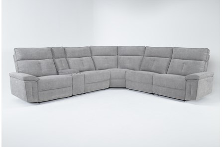 Pippa Grey 6 Piece Power Reclining Sectional With Power Headrest - Main
