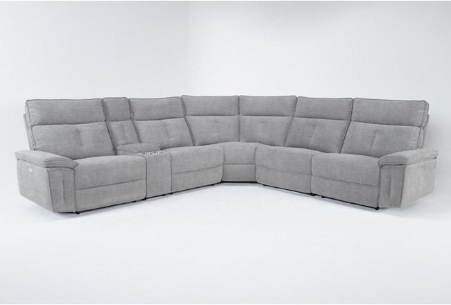 """Pippa Grey 6 Piece 214"""" Power Reclining Sectional With Power Headrest - 360"""