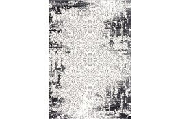 94X126 Rug-Distressed Traditional Damask Charcoal