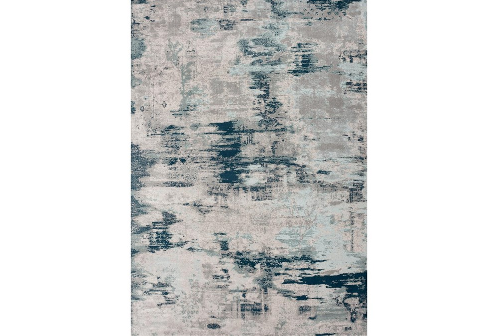94X126 Rug-Distressed Abstract Grey/Blue