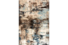 63X90 Rug-Distressed Abstract Blue/Brown