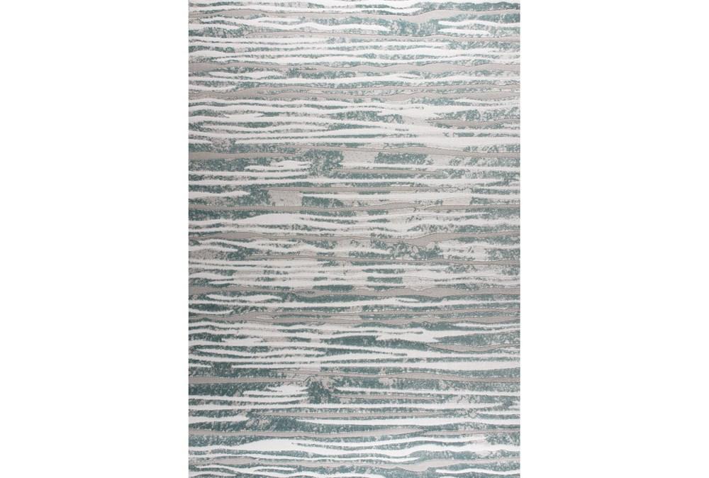 94X126 Rug-Wavy Lines Grey/Seaglass