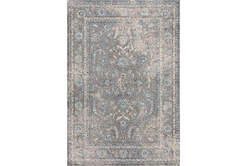 94X126 Rug-Traditional Leaves Light Blue/Grey