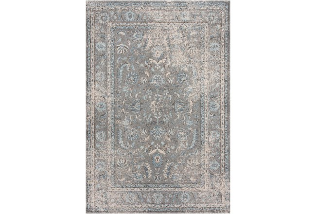 94X126 Rug-Traditional Leaves Light Blue/Grey - 360