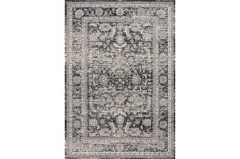 63X90 Rug-Traditional Leaves Grey/Black