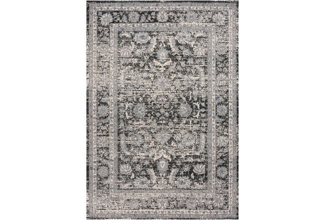 63X90 Rug-Traditional Leaves Grey/Black - 360