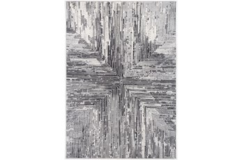 94X126 Rug-Mitered Lines Charcoal/Grey