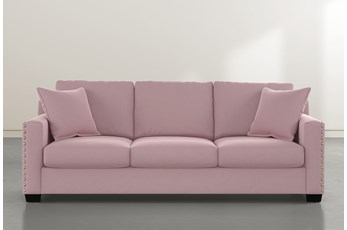 """Madsen 91"""" Pink Velvet Sofa"""