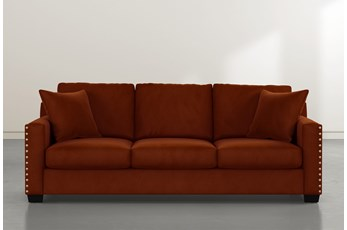 Madsen Orange Velvet Sofa