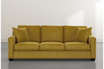 """Madsen 91"""" Gold Velvet Sofa"""