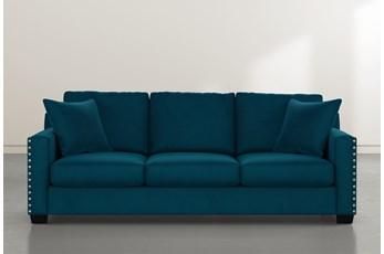 Madsen Teal Blue Velvet Sofa