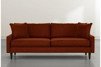 "Vivian 88"" Orange Velvet Sofa"