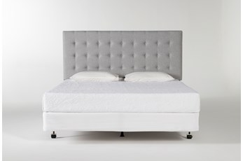 Baxton Eastern King Upholstered Headboard With Metal Bed Frame
