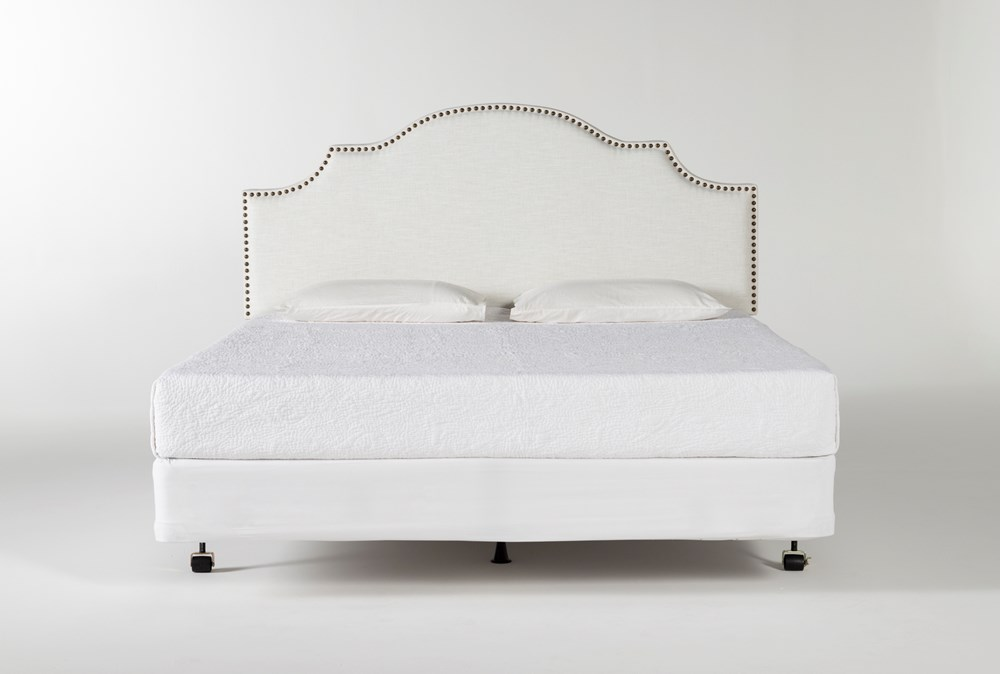 Brielle Eastern King Upholstered Headboard With Metal Bed Frame