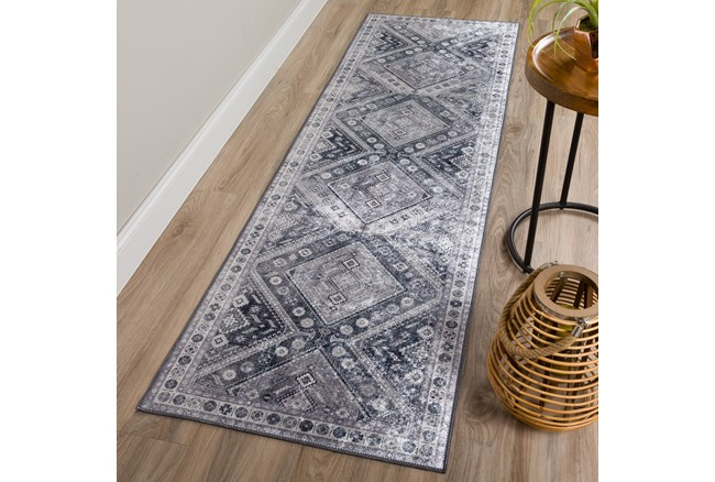 """2'3""""x7'5"""" Rug-Diamond Traditional Lustre Sheen Pewter - 360"""