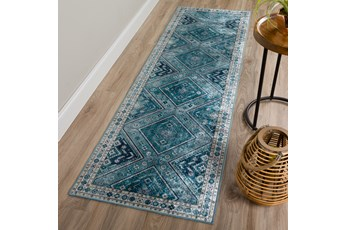 27X90 Rug-Diamond Traditional Lustre Sheen Teal