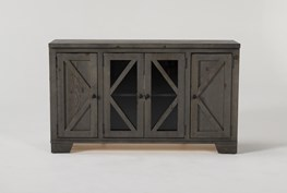 Sinclair II Grey 58 Inch TV Stand With Glass Doors