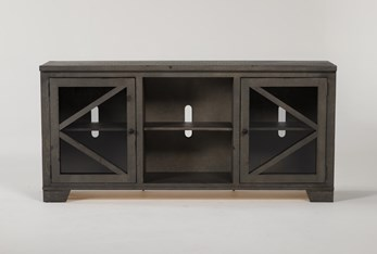 Sinclair II Grey 68 Inch TV Stand With Glass Doors