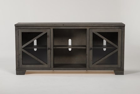Sinclair II Grey 68 Inch TV Stand With Glass Doors - Main
