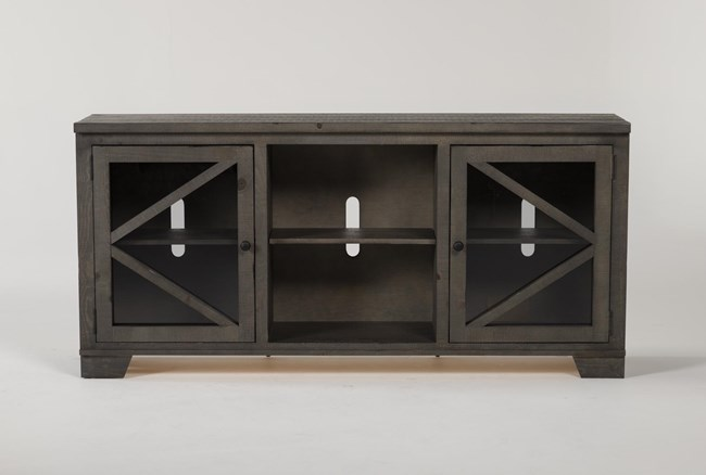 Sinclair II Grey 68 Inch TV Stand With Glass Doors - 360