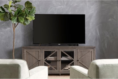 Sinclair Ii Grey 78 Inch Tv Stand With Glass Doors Living Spaces