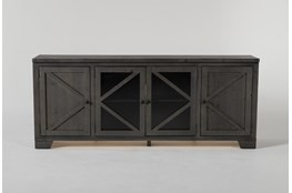 Sinclair II Grey 78 Inch TV Stand With Glass Doors