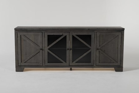 Sinclair II Grey 78 Inch TV Stand With Glass Doors - Main