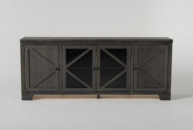 Sinclair II Grey 78 Inch TV Stand With Glass Doors - 360
