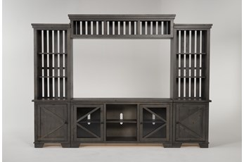 "Sinclair II Grey 116"" 4 Piece Entertainment Center With Glass Doors"
