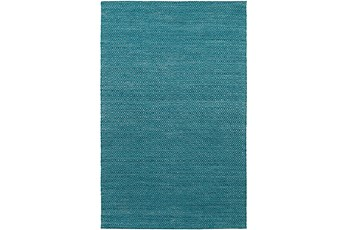 108X156 Rug-Diamond Metallic Flat Weave Teal