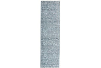 """2'3""""x8' Rug-Faded Transitional Blue/Turquoise"""