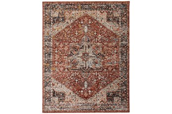79X114 Rug-Ornate Traditional Medallion Rust