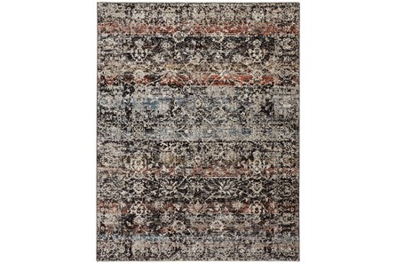 79X114 Rug-Floral Repeat Blue Rust