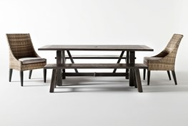 Panama Outdoor Rectangle 5 Piece Dining Set With Benches And Capri II Chairs