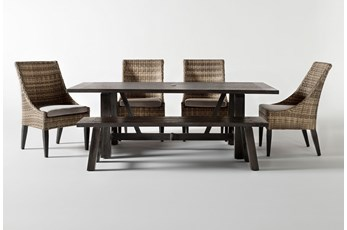 Panama Outdoor Rectangle 6 Piece Dining Set With Bench And Capri II Chairs